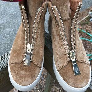 FRYE Lena Zip High Tan Suede Sneakers Shoes Sz 6M